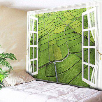Wall Hanging Rice Field Aerial View Print Tapestry - GREEN GREEN