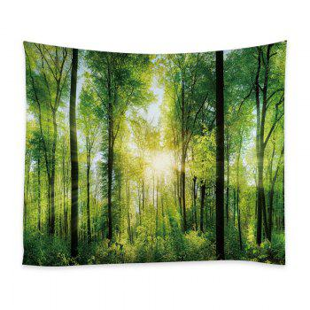 Sunlight Forest Print Tapestry Wall Hanging Decor - GREEN W79 INCH * L59 INCH
