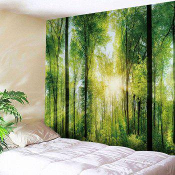 Sunlight Forest Print Tapestry Wall Hanging Decor - GREEN GREEN