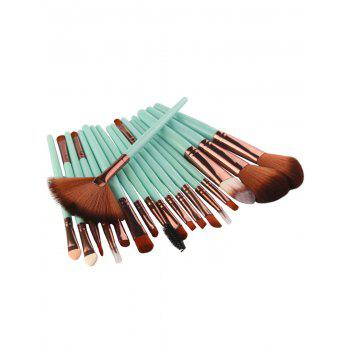 18Pcs Facial Multipurpose Makeup Brushes Kit - GREEN / BROWN