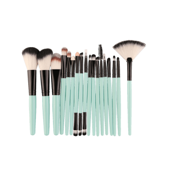 18Pcs Facial Multipurpose Makeup Brushes Kit - BLACK/GREEN