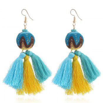Faux Turquoise Ball Tassel Ethnic Earrings