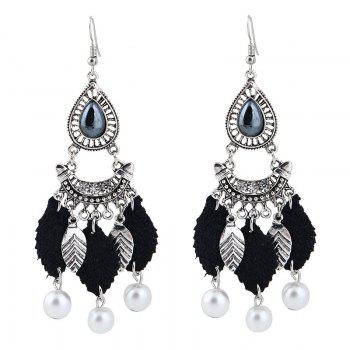Faux Pearl Chandelier Leaf Teardrop Earrings