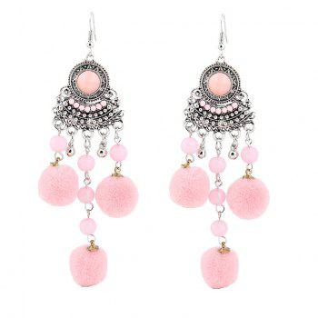 Beads Fuzzy Ball Hook Chandelier Earrings