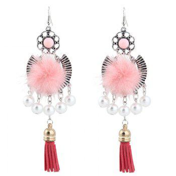 Artificial Pearl Fuzzy Ball Tassel Earrings
