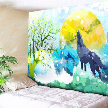 Wall Hanging Cartoon Wolf Printed Tapestry - COLORMIX COLORMIX