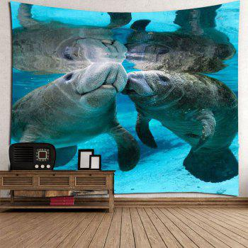Manatee Print Waterproof Wall Art Tapestry - COLORMIX W59 INCH * L51 INCH