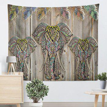 Wall Hanging Wood Grain Elephant Print Tapestry - WOOD COLOR W59 INCH * L51 INCH
