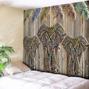 Wall Hanging Wood Grain Elephant Print Tapestry - WOOD COLOR WOOD COLOR