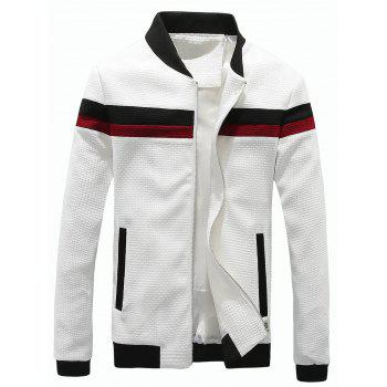 Stand Collar Color Block Panel Waffle Knit Jacket