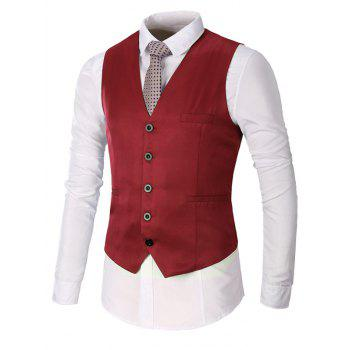 Faux Pocket Single Breasted Plain Waistcoat - WINE RED M