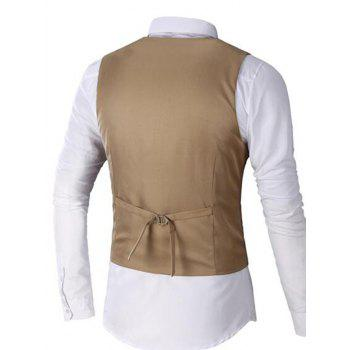 Faux Pocket Single Breasted Plain Waistcoat - 3XL 3XL