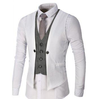Two Tone Single Breasted Faux Twinset Waistcoat - WHITE 2XL