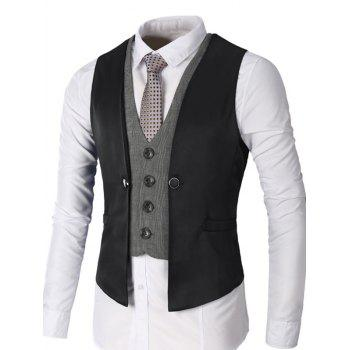 Two Tone Single Breasted Faux Twinset Waistcoat - BLACK 2XL
