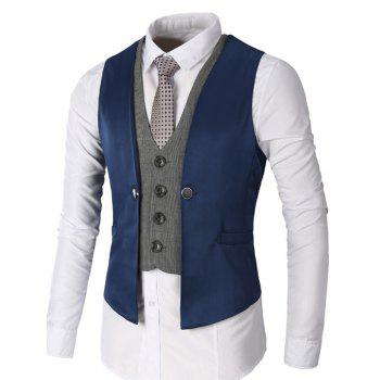 Two Tone Single Breasted Faux Twinset Waistcoat - DEEP BLUE 2XL