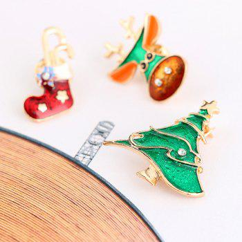 3 PCS Rhinestone Christmas Sock Deer Tree Brooches -  COLORMIX