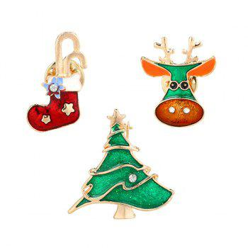 3 PCS Rhinestone Christmas Sock Deer Tree Brooches
