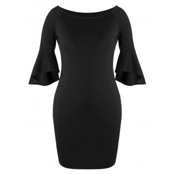 Plus Size Slit Flare Sleeve Bodycon Dress