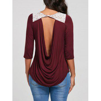 Lace Panel Low Cut Back Top