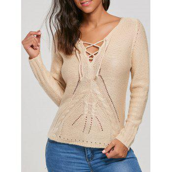 Lace Up Hollow Out Sweater