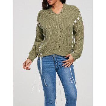 Lace Up Drop Shoulder Pullover Sweater