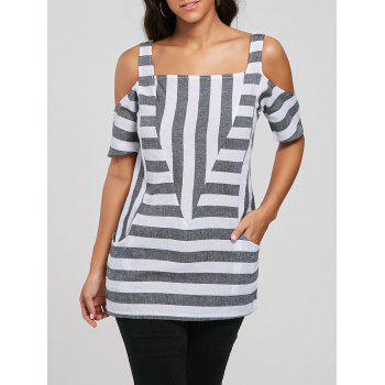 Cold Shoulder Striped T-shirt with Pockets