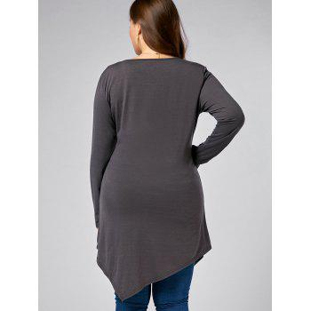 Plus Size V Neck Long Sleeve Asymmetric T-shirt - GRAY GRAY