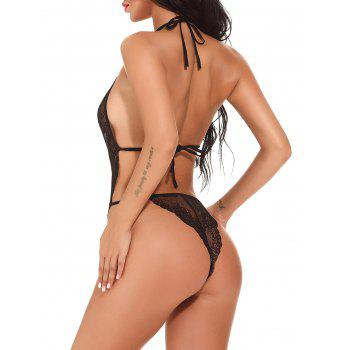Halter See Through Lace Teddy - Noir S