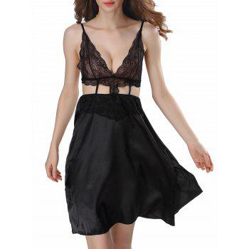 Backless Cut Out Satin Cami Dress - BLACK M