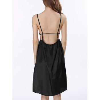 Backless Cut Out Satin Cami Dress - BLACK BLACK