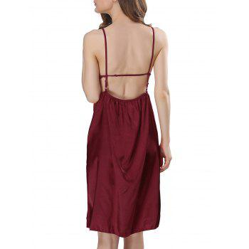 Backless Cut Out Satin Cami Dress - 2XL 2XL