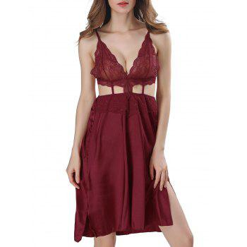 Backless Cut Out Satin Cami Dress - CLARET 2XL