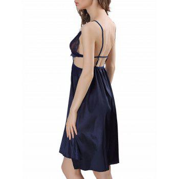 Backless Cut Out Satin Cami Dress - S S