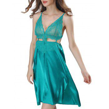 Backless Cut Out Satin Cami Dress - M M