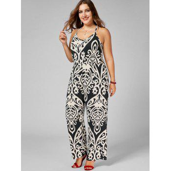 High Waisted Printed Plus Size Jumpsuit - multicolor multicolor