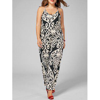 High Waisted Printed Plus Size Jumpsuit - MULTI multicolor