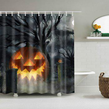 Water Resistant Halloween Theme Shower Curtain - BLACK GREY W71 INCH * L79 INCH