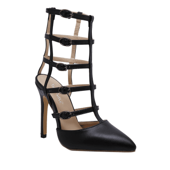 Pointed Toe Buckle Straps Pumps - 37 37