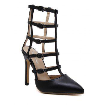 Pointed Toe Buckle Straps Pumps - BLACK 38