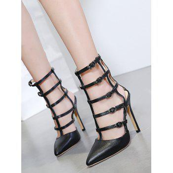 Pointed Toe Buckle Straps Pumps - 39 39