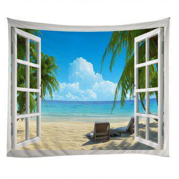 Window Beach View Print Tapestry Wall Hanging Art - LAKE BLUE W91 INCH * L71 INCH