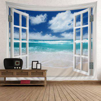 Window Beach Print Tapestry Wall Hanging Art - LAKE BLUE W79 INCH * L71 INCH