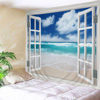 Window Beach Print Tapestry Wall Hanging Art - LAKE BLUE W91 INCH * L71 INCH