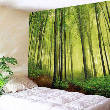 Fog Forest Print Tapestry Wall Hanging Art Decor - GREEN W91 INCH * L71 INCH