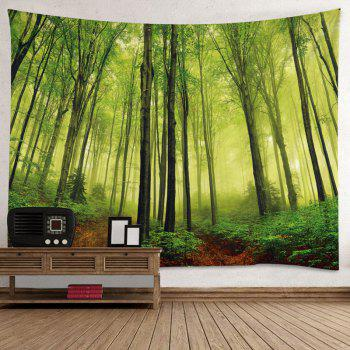 Fog Forest Print Tapestry Wall Hanging Art Decor - GREEN GREEN