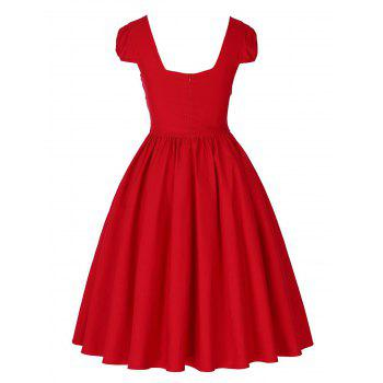 Vintage Puff Sleeve Ruched Pin Up Dress - Rouge L