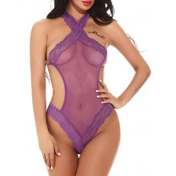Tricot Halter Mesh Through Micro Teddy - Pourpre S