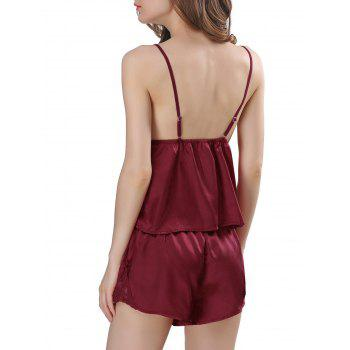 Ensemble de pyjama en satin Cami - Rouge vineux L