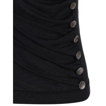 Drape Neck Side Button Tank Top - Noir M