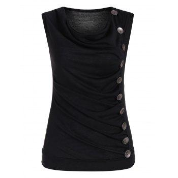 Drape Neck Side Button Tank Top - BLACK M